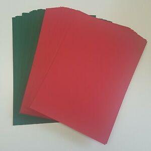 A4 Xmas Red & Xmas Green Card Pack Bundle x50 Sheets, 240gsm (297mm x 210mm)