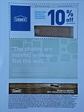 LOWES 10% MOVERSGUIDE (1) COUPON / EXPIRES 9/30/2018
