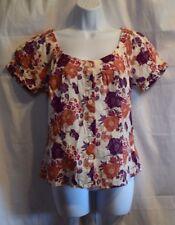 H&M Ivory, Orange & Purple Floral Button Down Shirt Blouse Size 8