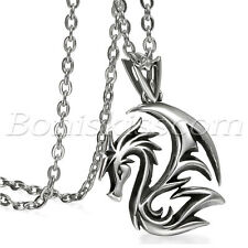 Men's Gothic Vintage Stainless Steel Flying Dragon Pendant Necklace Chain Gift