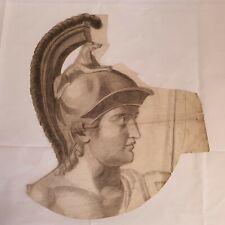 Antique Late 19th Century Pencil Sketch Portrait Bust Roman Soldier Cut Out