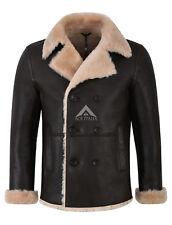 Men Real Shearling Sheepskin Jacket Double Breasted Brown Beige Fur Coat Nv-128
