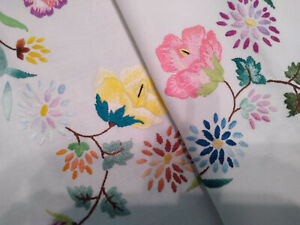 VINTAGE HAND EMBROIDERED LINEN TABLECLOTH ~ EXQUISITE FLOWER CIRCLE