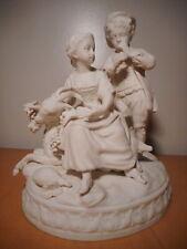Sculpture statue ancienne groupe biscuit porcelaine scène galante gout Sèvres
