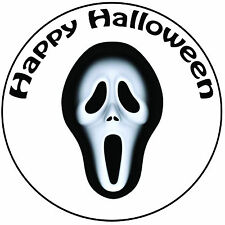 "Halloween Scream Mask Cake Topper - Pre-cut Round 8"" (20cm) Icing Decoration"