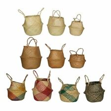 Seagrass Woven Storage Baskets Foldable Handmade Storage Basket Flower Pot