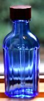 Cobalt Blue Glass Medicine Bottle With Clear Glass Dropper Made By Hazel Atlas