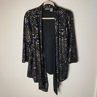 Chico's Women's Open Jacket Top Size 2 (Large, 12) Black Gold Silver Casual Work