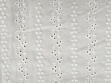 "Bright White Embroidered Eyelet 100% Cotton Lawn 56"" Wide Fabric 1 Yard"