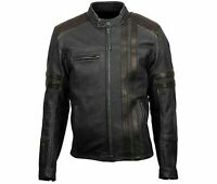 Retro Cafe Racer Classic 1909 Scorpion Stripe Black Leather Jacket For Men's
