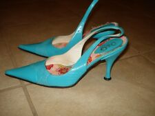 D&G DOLCE GABBANA LIGHT BLUE LEATHER HEEL PUMPS SZ 36