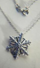 STERLING SILVER SLOWLY FALLING SNOWFLAKE DIAMOND PENDANT ON AN 18 INCH CHAIN