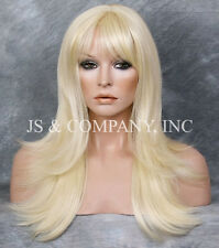 HUMAN HAIR Blend wig HEAT SAFE Long Straight Pale Blonde WBMS 613