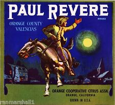 Orange County Paul Revere Orange Valencias Citrus Fruit Crate Label Art Print