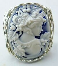 Grecian Goddess Grapes Cameo Ring Sterling Silver Blue