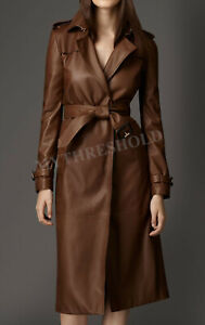 New Women Brown Genuine Real Leather Trench Coat