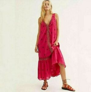 FREE PEOPLE Dress Sz XL Nomadic Dreams Pink Embroidered Tiered Hem V Neck Maxi