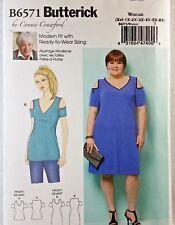 Plus Size Pattern Womens Open Shoulder Dress Sz 1X 2X 3X 4X 5X 6X Butterick 6571