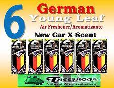 6 Packs Treefrog YOUNG LEAF GERMAN FLAG  Car Air Freshener - NEW CAR Scent