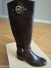 NIB New Michael Kors Stockard MK Logo Riding Knee Tall Boots DARK COFFEE 6
