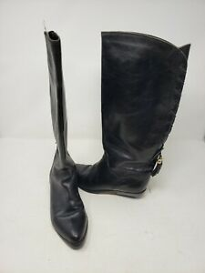 Bandolino Tassels Riding Boots Tall Black Leather Womens 6.5 Equestrian Italy