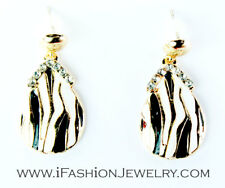 Drop Dangle Earrings Luxury Fashion Jewelry Gold Tone Black White Teardrop Tear