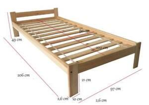 Holzbett Bett 90x200 Einzelbett Kiefer Natur Hotelbett Bettgestell mit Rollrost