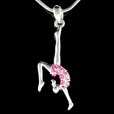 w Swarovski Crystal ~Hot Pink Gymnastic Gymnast~ Acrobat Contortion Necklace New