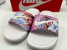Nike Women's Size 7 Benassi JDI Print 618919-113 White Pink Floral Brand New!