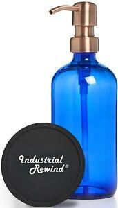 Blue Soap Dispenser with Copper Soap Pump 8oz Soap Lotion Dispenser - Cobalt
