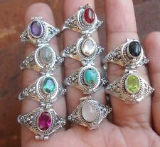 10X 925 Sterling Silver-Balinese Poison Locket Ring With Mix Stone Mix Size-Pr01