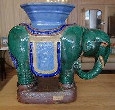 Singular Mid-Century Glazed Elephant Stool - Antique Ceramic Elephant Stool