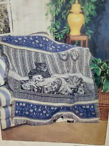 1997 American Weavers Jacquard Throw Blanket Fringed Style: Family Values Cats