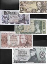 Banknotenserie 1000 500 100 50 20 Schilling 1965 - 1970 unc Österreich Eiamaya