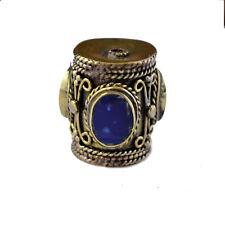 Lapis Brass Focal Bead Tibetan Nepalese Handmade Tibet Nepal By Eksha AC1614
