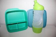TUPPERWARE Sportfreund Flasche 415ml Clevere Pause Dose Früstukbox blau-grün