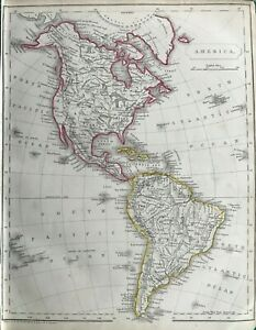 1842 Antique Map; America, north & south by F.P. Becker