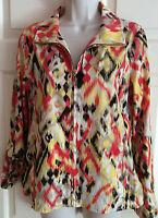 LAURA ASHLEY Roll Tab Long Sleeve Full Zip Lightweight Shimmer Jacket ~ Size PM