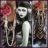 black gold sequin bead 20s tassel flapper deco gatsby charleston Party dress 8