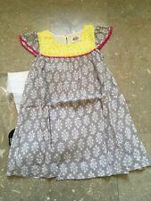 Mini Boden Baby Girls 3-4 Dress Grey Yellow Floral