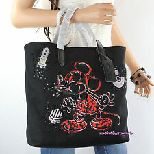 NWT Disney X Coach Mickey Mouse LOVE Black Canvas Tote Bag LIMITED EDITION RARE