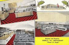 Whiting Indiana~Art Deco Vogel's Kitchen & Pantries~Linen Postcard 1940s