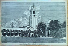 1946 Artist-Signed/Hadwall Giant Postcard: Bishop School-La Jolla, California CA
