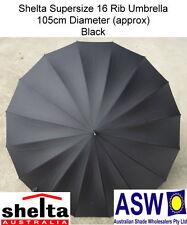 16 RIB BLACK Shelta Long Rain Umbrella 104cm Diameter 5514
