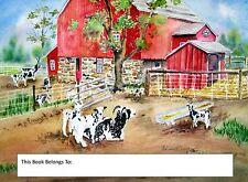 Jacob Sheep, Bookplates, wool, animals, sheep, red barn, country, summer