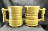 "TWO Vintage Frankoma Pottery C3 4"" Barrel Mugs Cups Autumn Yellow MCM Nice Glaze"
