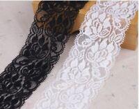 1-5 Meter Spitzenband Spitzenborte 7-10cm weiß creme elastische Spitze Polyester
