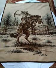 Vtg IBENA Intl Blanket Throw Cowboy Bucking Bronco Brown Beige Reversible Dolan