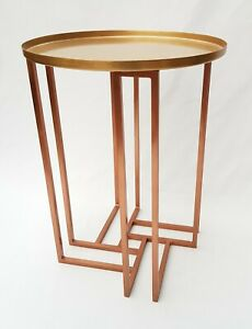 Brass & Copper Metal Side/Tray Table. A63732 Brand New. Coffee/Side table.