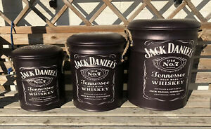 Jack Daniels Stool Or Storage Bin Drinks Happy Hour Whiskey Container Set Of 3